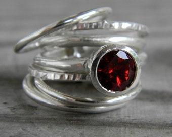 Garnet Stacking Rings Set of Seven Rings, Crimson Red Gemstone