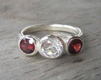 Three stone Garnet and White Topaz Ring, January Birthstone Ring, Bezel Set Sterling Silver Gemstone Ring