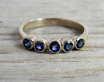 Blue Sapphire and 14k Palladium White Gold Ring, Five Stone Ring, Anniversary Band