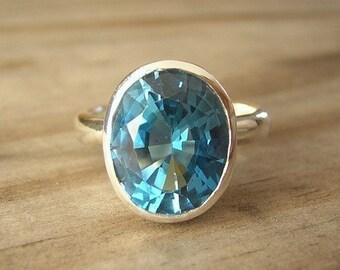 London Blue Topaz Sterling Silver Oval Rock Fetish Ring, SIZE SIX Ready TO Ship
