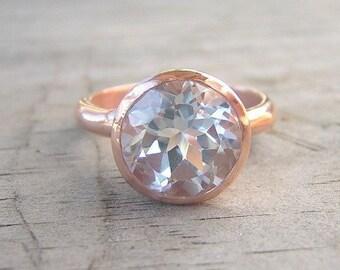 14k Rose Gold Ring and White Topaz Gemstone, ROCK Fetish, Made to Order