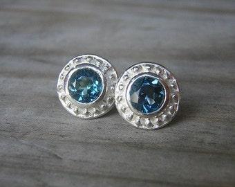 London Blue Topaz Stud Earrings, Ancient Rustic Post earrings, Natural Gemstone, December Birthstone Earring