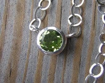 Apple Green Peridot Gemstone Necklace in Sterling Silver