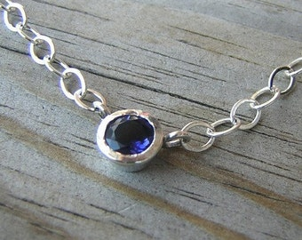 Blue Iolite Gemstone Necklace in Sterling Silver