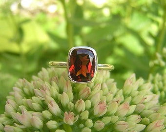 14k Yellow Gold and Garnet Solitaire Ring, Sterling and Cushion Cut Garnet Gemstone Made To Order