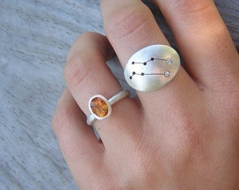 GEMINI Constellation Ring in Sterling, Made to Order in Your Size