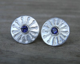 Iolite StarBerry Post Earrings in Argentium Sterling