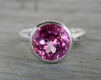 Pink Topaz Statement Ring, Large Topaz Ring in Genuine Gemstone, Pink Gem Solataire Rings