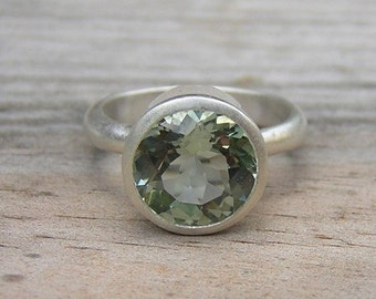 Green Amethyst Ring in Matte Sterling Silver, Recycled Silver Statement Ring