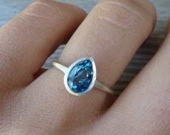 London Blue Topaz Pear Ring, Pear Shaped Gemstone Ring in Sterling Silver, Blue Topaz December Birthstone Jewelry