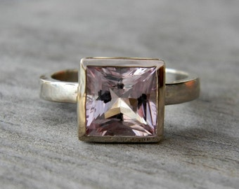 14k Palladium White Gold and Princess Morganite Solitaire Ring, Made To Order