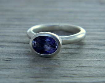 Periwinkle Blue Iolite Horizontal Oval Ring in Matte Argentium Silver