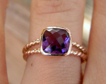 Rose Gold Ring, Amethyst Ring, Purple Gemstone Ring, Rose Gold Solitaire, February Birthstone Jewelry, Cushion Cut Ring, Size 6.5