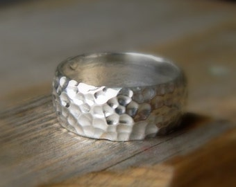 Wide Band Ring in Recycled Silver, Hammered Unisex Silver RIng