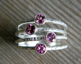 The Confetti Ring in Pink Rhodolite Garnet and Recycled Sterling