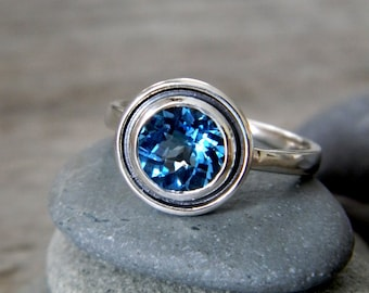 Swiss Blue Topaz Halo Ring in Tarnish Resistant Sterling, Made To Order