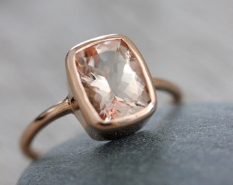 Cushion Morganite Rose Gold Ring,Pink Beryl Gemstone Ring, Morganite Ring,Diamond Alternative Engagement Ring, Eco Rose gold, Pink Morganite