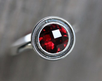 Garnet Ring in Sterling Silver,  Halo Ring in Tarnish Resistant and Recycled 925