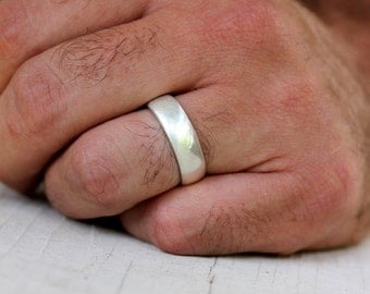 Sterling Silver Wedding Band, Mens Band in Brushed Silver and Made To Order