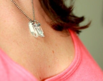 Crystal Quartz Point and Sterling Pendant, Ice Crystal Necklace