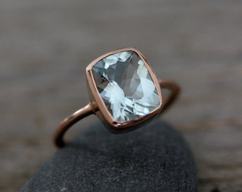 Aquamarine Cushion Gemstone, Blue Aquamarine Ring, Rose Gold Engagement Ring for Women, Bezel Set Engagement Ring