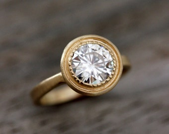 Moissanite Ring, Engagement Ring, 14k Yellow Gold, Halo Ring, Gold Ring, Solitaire, Forever Brilliant