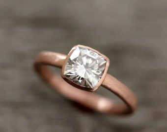 Rose Gold Engagement Ring, Forever Brilliant Moissanite Engagement Ring,  Recycled, Ethical Non diamond Promise Ring