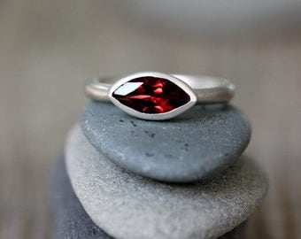 Garnet Marquise Ring, Red Stone Ring in Recycled Sterling Silver, Made To Order