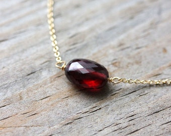 Solid 14k Yellow Gold and Crimson Garnet Necklace, Ready To Ship