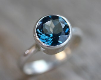 London Blue Topaz Ring, Gemstone Ring, Gift for Her , Sterling Silver Ring, Non Diamond , Nickel Free, Made in your size