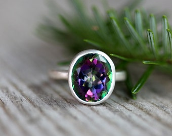 Size 5 Ready To Ship  Mystic Topaz Gemstone Ring in Sterling Silver
