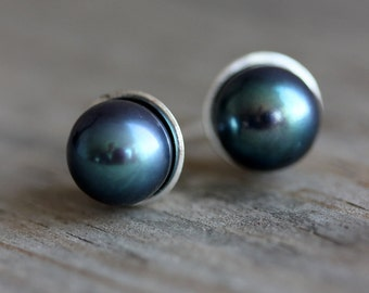Classic Handmade Pearl Studs, Peacock Pearl 8mm Post Earrings, Freshwater Cultured Pearls