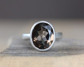 Smoky Quartz Solitaire Gemstone Ring , Recycled Silver Jewelry, Ecological Cocktail Ring