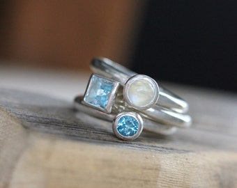 Moonstone Blue Topaz Stackable Ring Set, Shiny Sterling Stacking Rings, Beachy Bands for Girlfriend