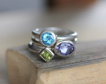 Nesting Rings In Oval  Iolite, Princess Cut Peridot Ring and Swiss Blue Topaz, Stacking Ring Set