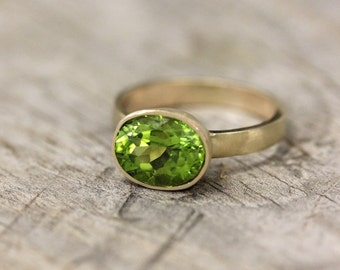 Yellow Gold And Peridot Ring, Gemstone and Recycled 14k Gold Wide Band Ring, Made In your Size