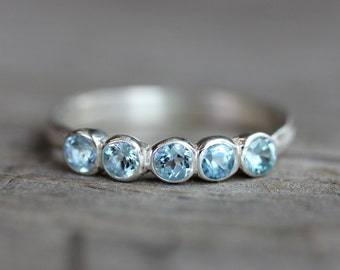 Blue Aquamarine Anniversary Band Ring, Sterling Wedding Band, Multistone Rings in March Birthstone, Low Profile Engagement Ring