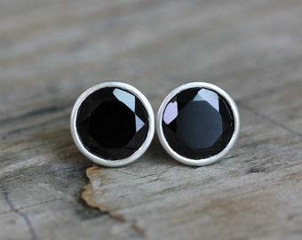Black Garnet Sterling Post Earrings, Black Stone Studs, Genuine Garnet Jewelry, January Birthstone
