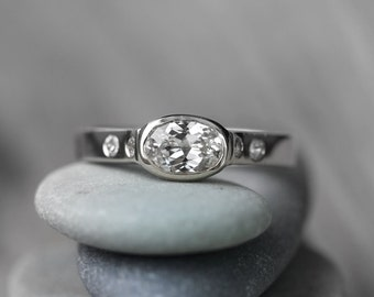 White Sapphire White Gold Engagement Ring, 14k Palladium White Gold Conflict Free and Natural Sapphire Artisan Wedding Ring, Eco Friendly