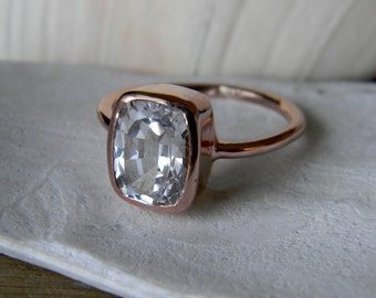 14k Rose Gold and White Topaz Cushion Shaped Gemstone RIng