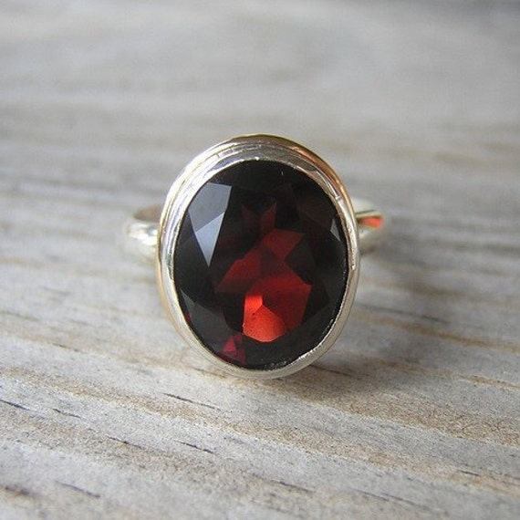 Signature Garnet Ring with a Slim band, Sterling and 14k READY TO SHIP SIZE 6