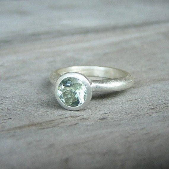 Green Amethyst and Sterling Stacker OR Solitaire Ring, Made To Order
