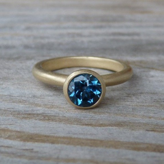 London Blue Topaz and 14k Matte Gold Ring, Solitaire or Stacking ring, Made To Order Gemstone Ring