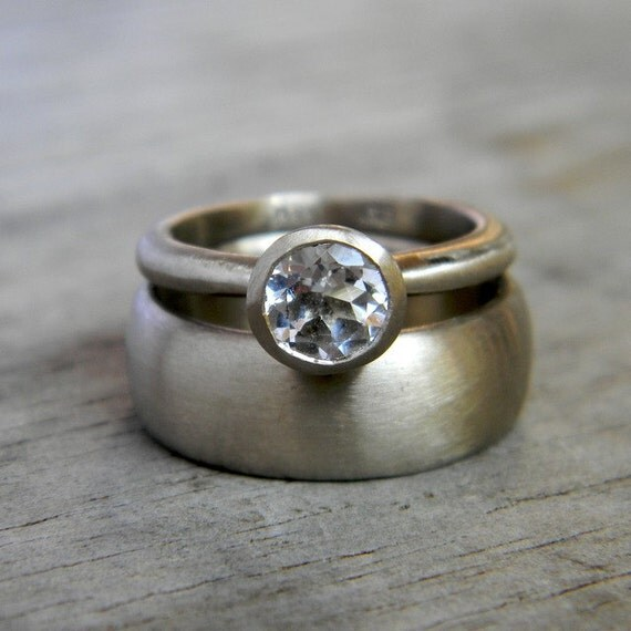 White Sapphire Ring and Wedding Band // 14k White Gold Wedding Ring Set in 14k Palladium White Gold // Modern, Sleek Design