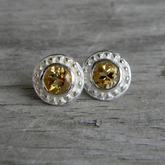 Citrine Earrings, Golden Gemstone Post Earrings, Rustic Stud Earrings, November Birthstone Jewelry