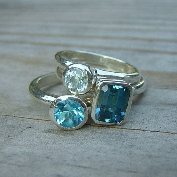 Sterling Silver Stacking Rings in  Blue Topaz Gemstone Ring Set, Emerald Cut Blue Topaz Ring, Round Sky Blue, Swiss Blue Topaz Rings
