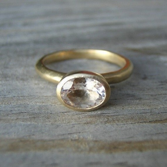 Morganite and Yellow Gold Ring, 14k Gold Solitaire, Pink Beryl Oval Gemstone Ring, Stacking Ring, Recycled Gold, Eco Friendly