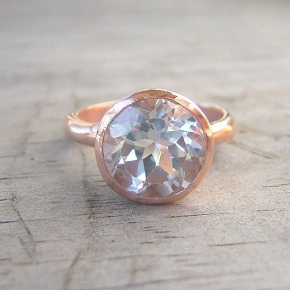 14k Rose Gold and White Topaz Gemstone, ROCK Fetish, Made to Order