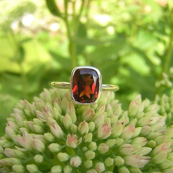 Red Light Garnet Cushion Argentium Sterling Ring, SIZE 7 Ready To Ship