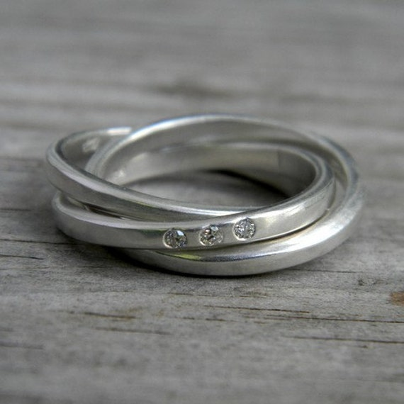 Argentium Sterling Silver Ring,  Conflict Free Diamond Rolling Ring, Silver Nesting Ring with Flush Set Diamond
